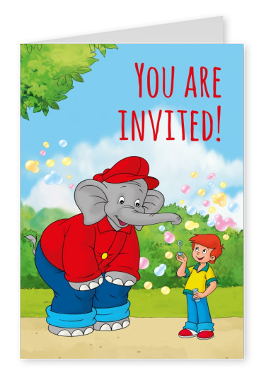 illustration Benjamin the elephant with Otto bubbles