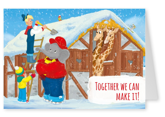 illustration Benjamin the elephant with friends outside in the snow