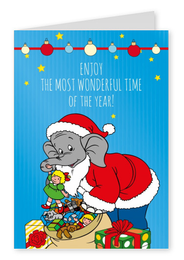 illustration Benjamin the elephant as Santa Claus with gifts