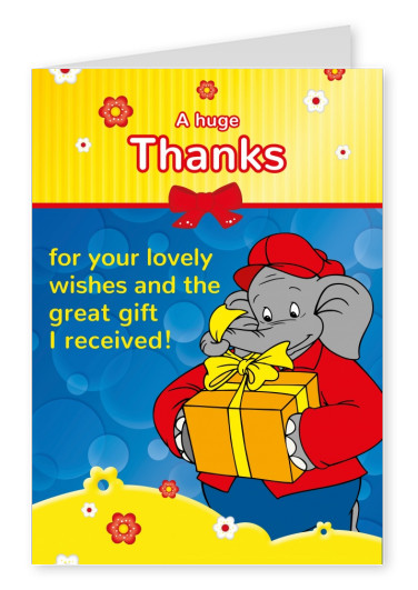 illustration Benjamin the elephant with big gift