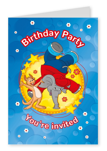 illustration Benjamin the elephant with fox party