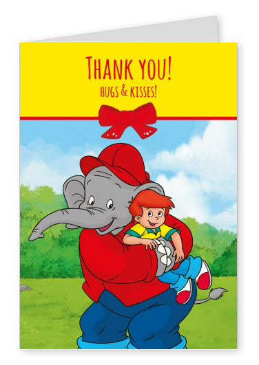 illustration Benjamin the elephant with Otto hugging