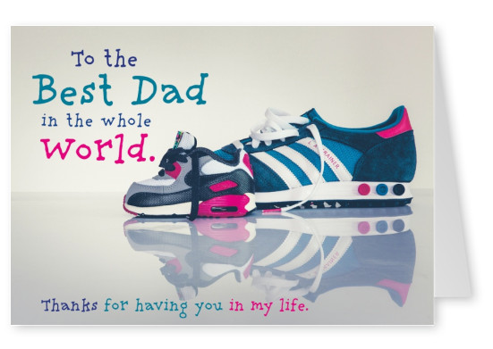 Photo of man shoes and children shoes.Best Dad in the whole world–mypostcard
