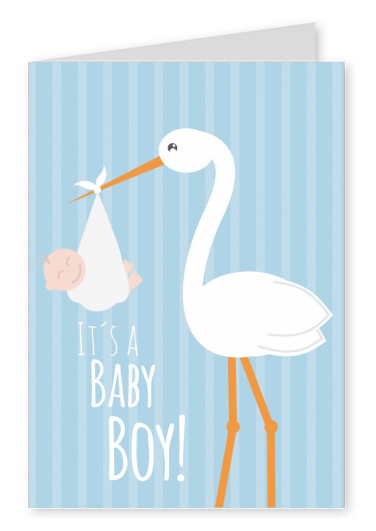 White It's a baby boy -Lettering with a stork and baby on a blue background