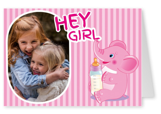 Baby hey girl with pink elephant and striped background