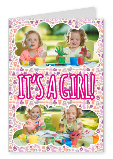 Baby girl with purple, orange and pink background pattern