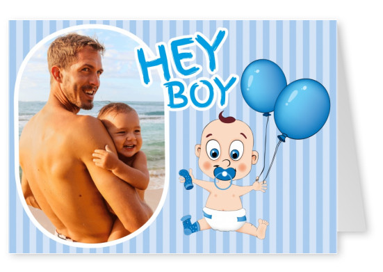 Baby boy with blue balloons and striped background