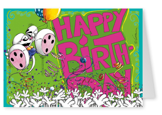 happy birthday diddl mouse postcard greeting card