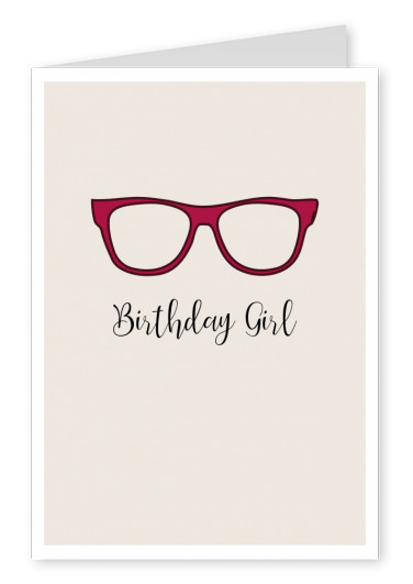 illustration red female glasses