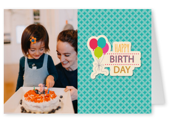 birthday wishes with colourful balloons and a green pattern background