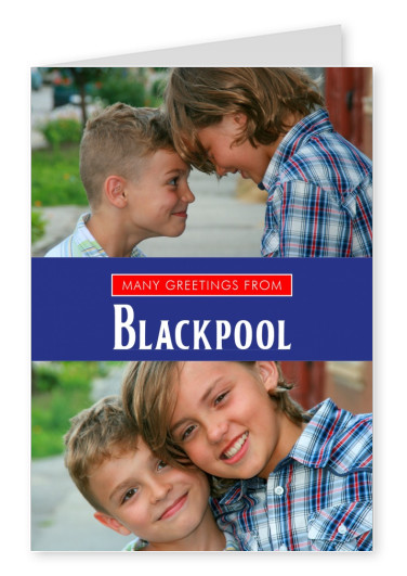 Blackpool in Union Jack-style colours and font