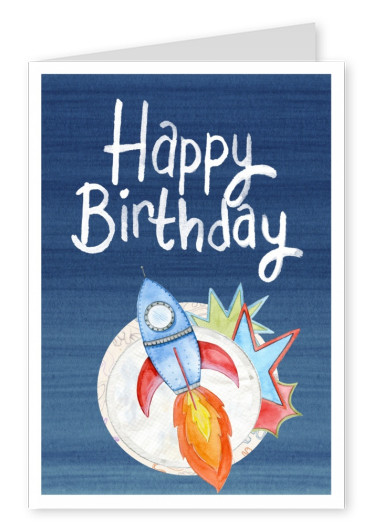 illustration little rocket moon happy birthday