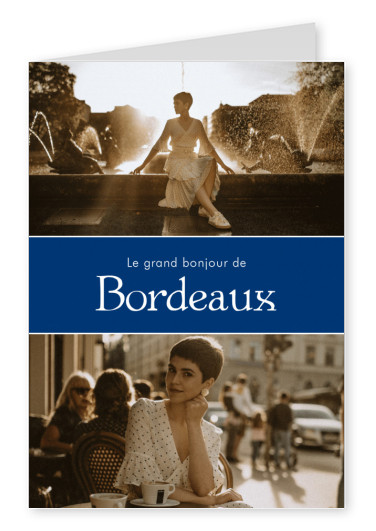 Bordeaux greetings in French language blue white