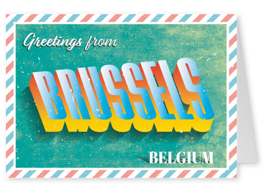Greetings from Bruxelles Retro lettering greetingcard