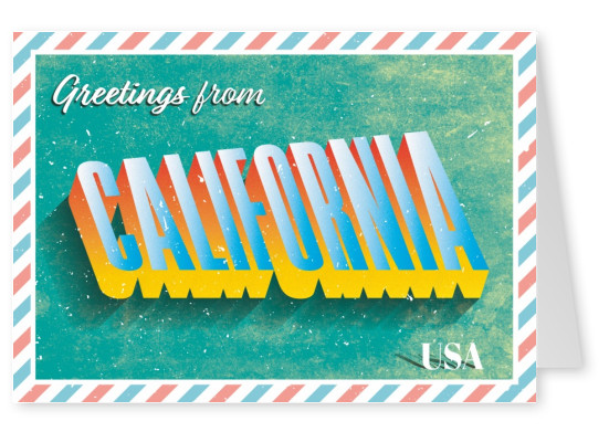 Retro postcard California, USA