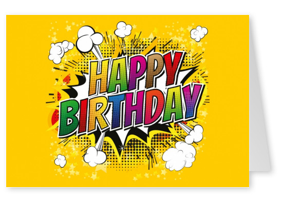 Pop Art Happy Birthday Cartoon