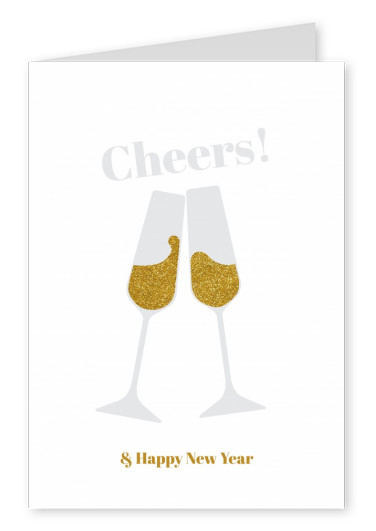 cheers two champagne glasses on a white background