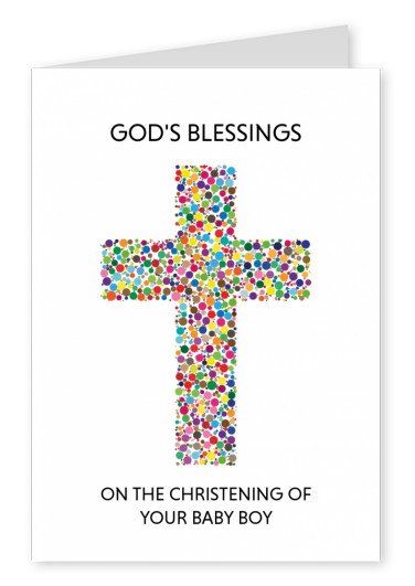 Christina cross made of colourful dots on white ground