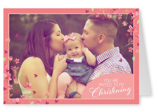 Christening invitaion card in pink