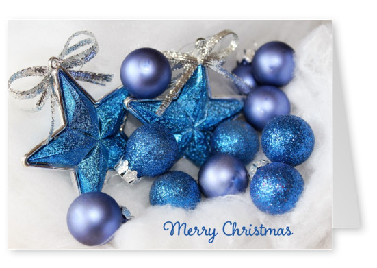 Blue Christmas decoration with lettering Merry Christmas
