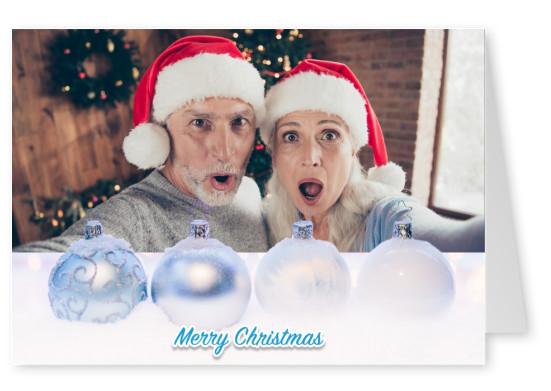 Christmas template with snow, christmas balls and lettering merry christmas