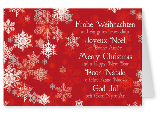 Free printable holiday cards free templates cards printed and white snowflakes peppering a red background with international season greetings in white m4hsunfo