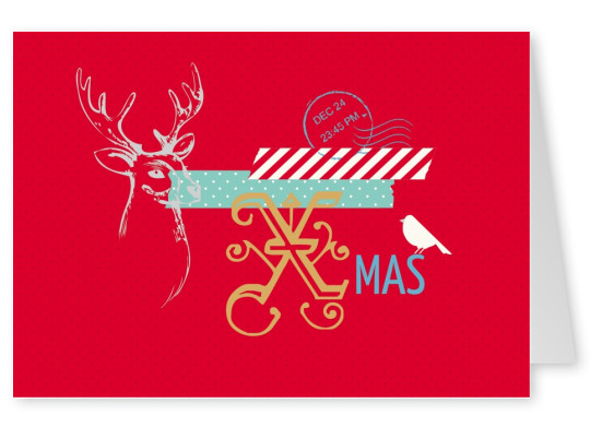 red christmas card modern