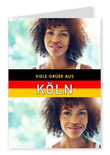 Cologne greetings in German flag design