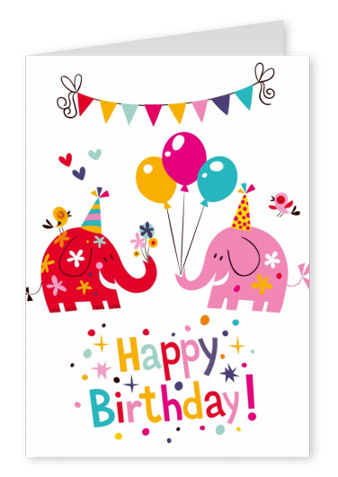 Colorful Party Elephants Cartoon With Bunting And Balloons Happy Birthday