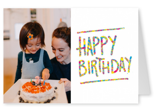colorful happy birthday postcard