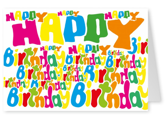 colorful postcard happy birthday greeting card color