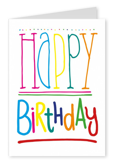 colorful letters happy birthday postcard greeting card