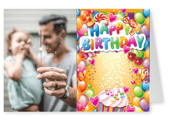 colorful kids postcard happy birthday greeting card design