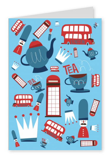 greeting card with graphic elements of london on a blue background