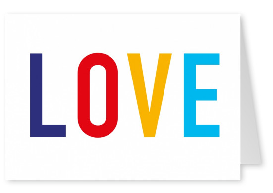 love letters colorful white postcard