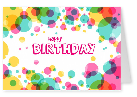 colorful bubbles happy birthday postcard greeting card