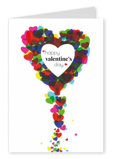 colorful circles hearts happy valentines day postcard
