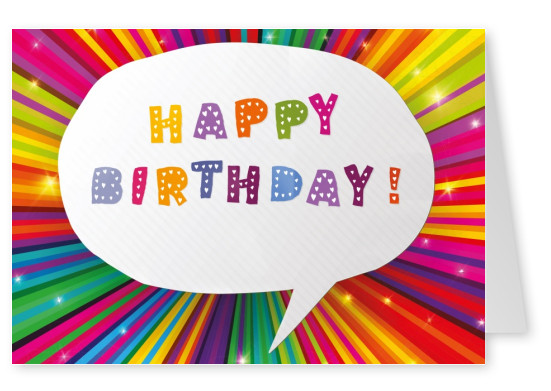 colourful happy birthday postcard