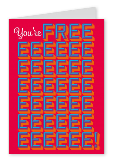 Blue you are free- print lettering on red ground