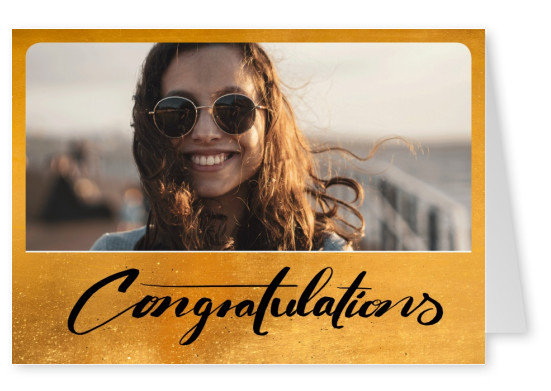 Golden greeting card with handwriten congratulations