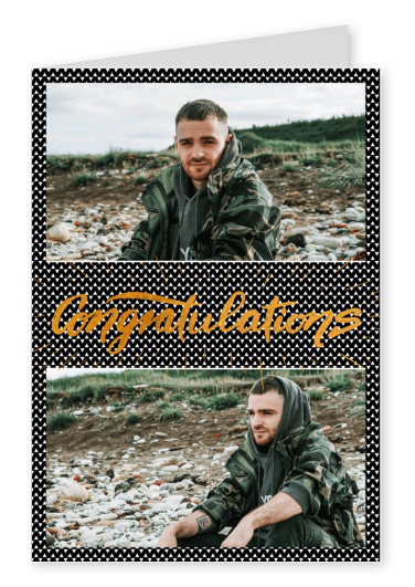 Personalize card with space for two Photos, triangle pattern and golden lettering congratulations