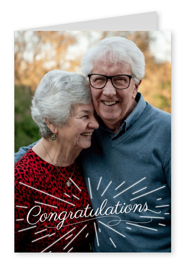 Personalize card with place for one photo and white calligraphy lettering congratulations