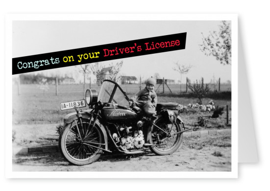 vintage photo boy on motorbike