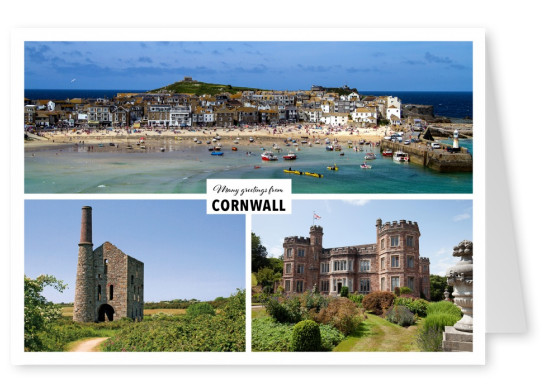 Postcard with three photos of Cornwall – Mount Edgcumbe, St. Ives and historic building