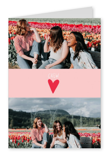Tiny red heart on pink background, CREW text