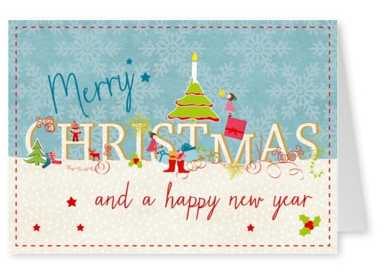 hand drawn greeting card merry christmas and happy new year cards