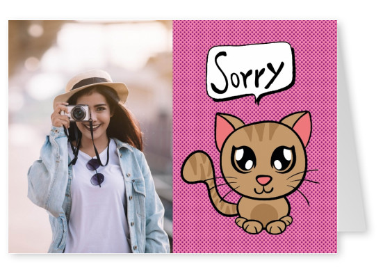 cute cat handdrawn illustration speech bubble sorry