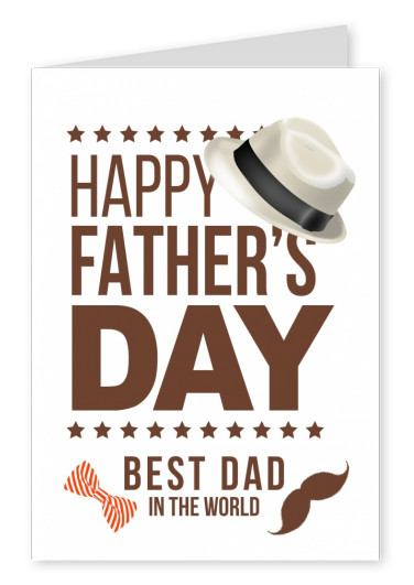 father's day: white hat, bow tie and moustache graphic