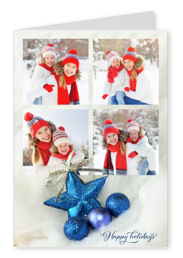 Festive template with blue decoration and lettering Happy holidays
