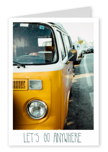 greeting card with a phozo of an old vw bus